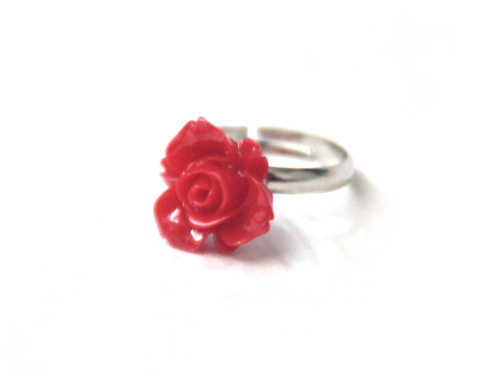Red flower ring adjustable