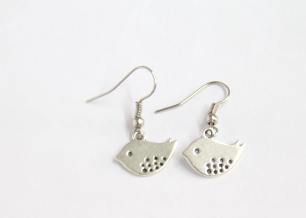 Bird earrings, mod birds, silver earring
