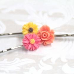 Hair pin Coral Pink Yellow