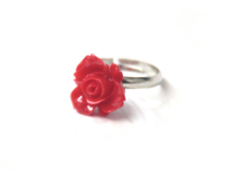 Red Flower Ring Adjustable on Luulla